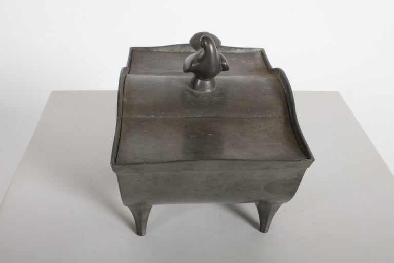 Just Andersen Denmark Pewter Covered Curved Box with Dove Handle, Danish Modern In Good Condition For Sale In St. Louis, MO