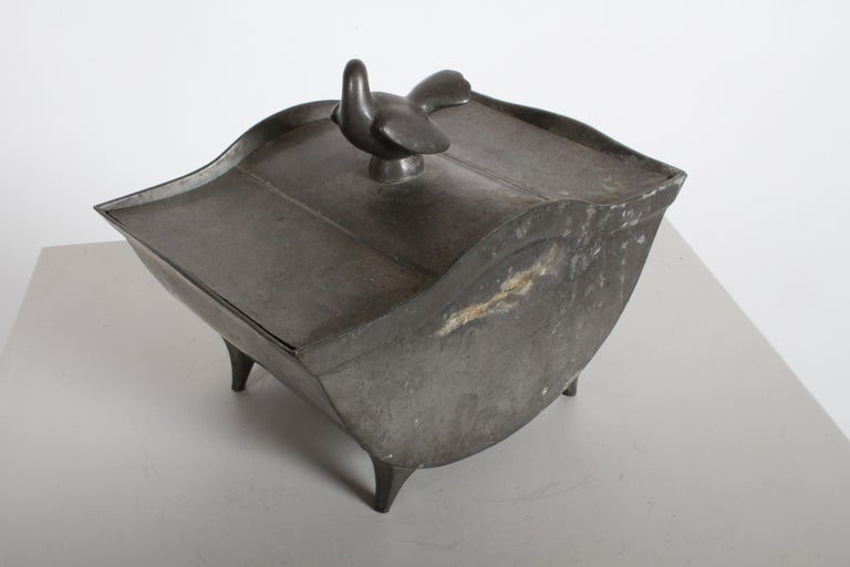 Just Andersen Denmark Pewter Covered Curved Box with Dove Handle, Danish Modern For Sale 1