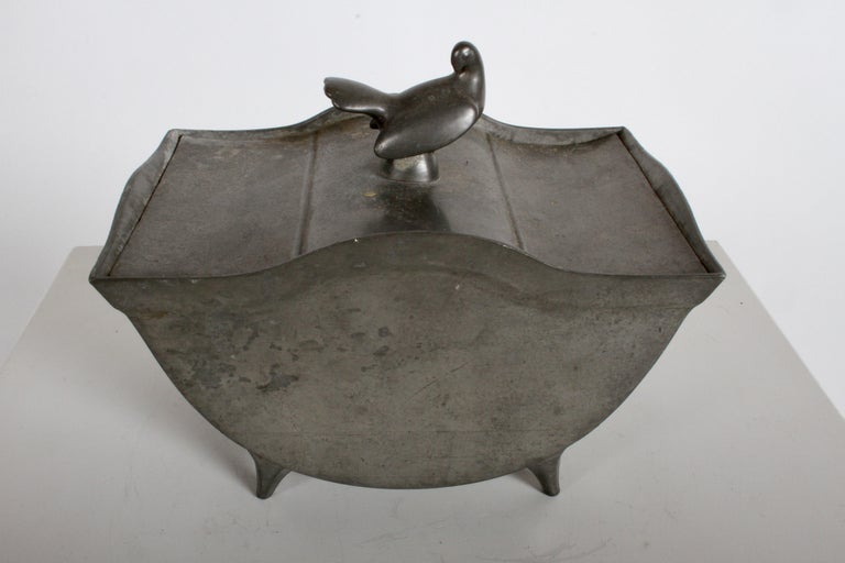 Just Andersen Denmark Pewter Covered Curved Box with Dove Handle, Danish Modern For Sale 2