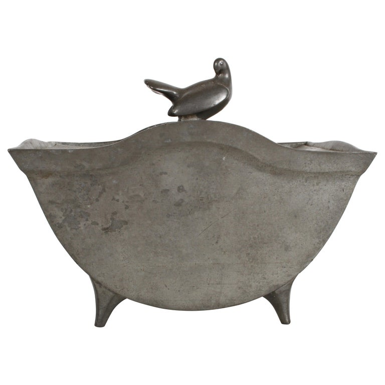 Just Andersen Denmark Pewter Covered Curved Box with Dove Handle, Danish Modern For Sale