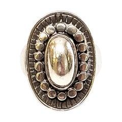 Just Andersen Denmark Sterling Silver Oval Beaded Ring