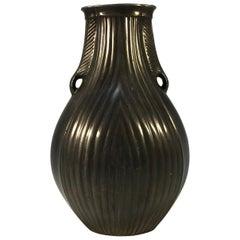 Just Andersen Disco Art Deco 1930 Scandinavian Twin Handle Ribbed Vase #D2011