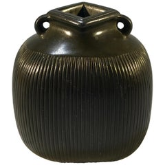 Just Andersen Disko Metal 1940 Scandinavian Ribbed Vase Square Neck #D2317
