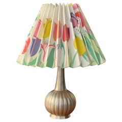 Just Andersen & Josef Frank, Table Lamp, Pewter, Fabric, Denmark, 1930s