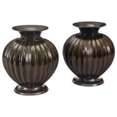 Just Andersen, Pair of Danish Solid Patinated Bronze Melon Vases, Signed