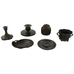 Just Andersen, Two Vases, Two Candlesticks and Two Bowls in Disko Metal