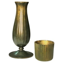 Just Andersen Vase and Cup in Patinated Bronze, Denmark, 1930s