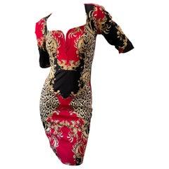 Just Cavalli Baroque Leopard Print Cocktail Dress by Roberto Cavalli New w Tags