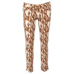 Just Cavalli Beige Animal Printed Denim Jeans M