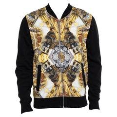 Just Cavalli Black Cotton Duel Print Fleece Zip Jacket S