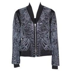 Just Cavalli Black Crepe Embellished Bomber Jacket M