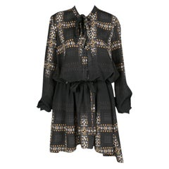 Just Cavalli Black Geometric Print Belted Long Sleeve Dress M