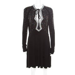 Just Cavalli Black Knit Multicolor Crystal Embellished Long Sleeve Dress M