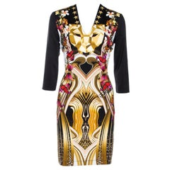 Just Cavalli Black Leo Butterfly Print Jersey Fitted Dress L