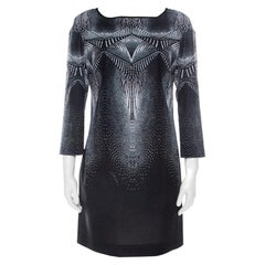 Just Cavalli Black & White Printed Glitter Detail Dress S