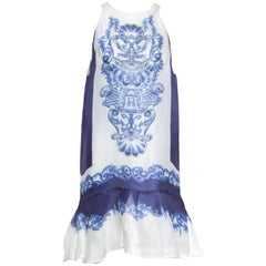Just Cavalli Blue and White Majolica Print Sheer Silk Sleeveless Peplum Dress M