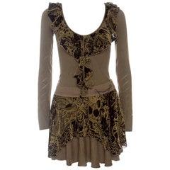 Just Cavalli Brown Knit Burnout Velvet Flounce Detail Top and Skirt Set M