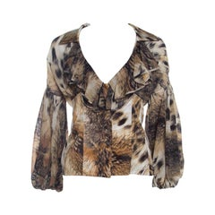 Just Cavalli Brown Leopard Print Chiffon Ruffle Collar Detail Blouse M