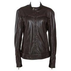 Just Cavalli Brown Nappa Leather Zip Front Jacket S