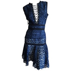 Just Cavalli by Roberto Cavalli Navy Blue Cotton Eyelet Dress New with Tags
