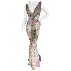 Just Cavalli by Roberto Cavalli Reptile Print Fishtail Mermaid Gown