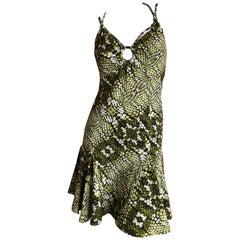 Just Cavalli by Roberto Cavalli Sweet Green Reptile Print Mini Dress