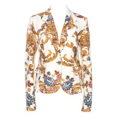 Just Cavalli Cream Floral Print Cotton Jacket M