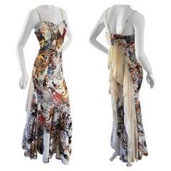 Just Cavalli Floral Print Dress w Chiffon Flounce Back by Roberto Cavalli