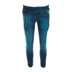 Just Cavalli Indigo Pigment Overdyed Denim Zipper Detail Tapered Jeans S