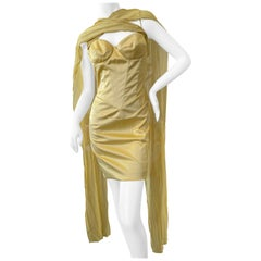 Just Cavalli Jaunty Yellow Corset Dress by Roberto Cavalli with Attached Scarves