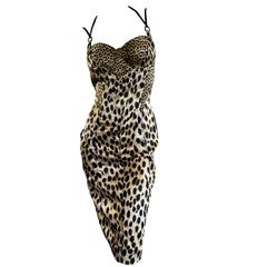 Just Cavalli Leopard Print Corset Cocktail Dress by Roberto Cavalli New Tags