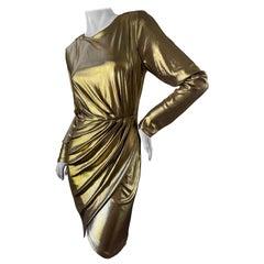 Just Cavalli Liquid Gold Cocktail Dress with Zipper Details by Roberto Cavalli