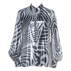 Just Cavalli Metallic Black and White Silk and Lurex Animal Print Shirt M
