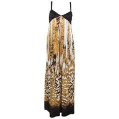 Just Cavalli Multicolor Printed Silk Pleated Bodice Detail Maxi Dress L