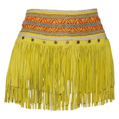 Just Cavalli Neon Yellow Leather Fringed Tribal Mini Skirt M