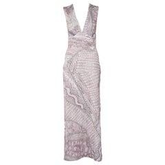 Just Cavalli Pink Cracking Beauty Printed Knit Sleeveless Maxi Dress S
