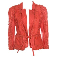 Just Cavalli Red Floral Appliqued Leather Jacket M