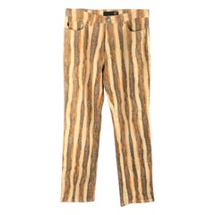 JUST CAVALLI Size 32 Brown Orange & Beige Stripe Jeans