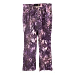 JUST CAVALLI Size 32 Purple Snake Print Denim Button Fly Jeans