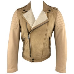 JUST CAVALLI Size 36 Tan Shearling & Wool Padded Biker Jacket