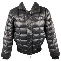 JUST CAVALLI Size 38 Black Quilted High Collar Puffer Jacket
