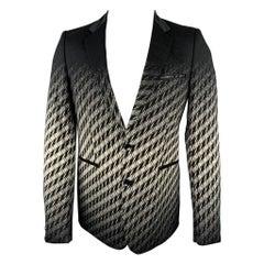 JUST CAVALLI Size 38 Black & White Houndstooth Cotton Blend Notch Lapel Jacket