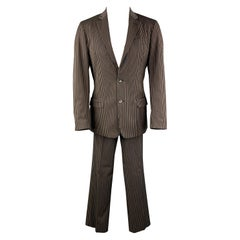 JUST CAVALLI Size 38 Brown Stripe Cotton Blend Notch Lapel 32 28 Suit