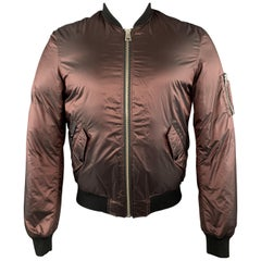 JUST CAVALLI Size 38 Burgundy Shiny Polyamide Zip Up Bomber Jacket