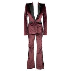 JUST CAVALLI Size 4 Burgundy & Black Velvet Pants Tuxedo Suit