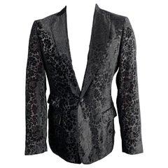 JUST CAVALLI Size 40 Black & Burgundy Floral Virgin Wool Sport Coat
