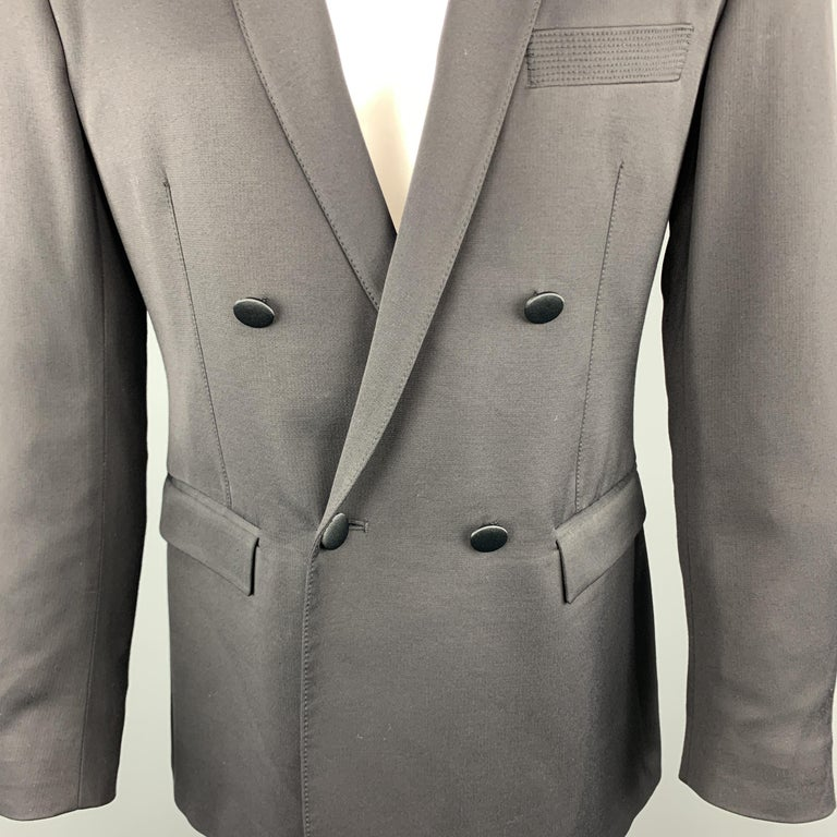 JUST CAVALLI Size 40 Black Double Breasted Notch Lapel Sport Coat In Excellent Condition For Sale In San Francisco, CA