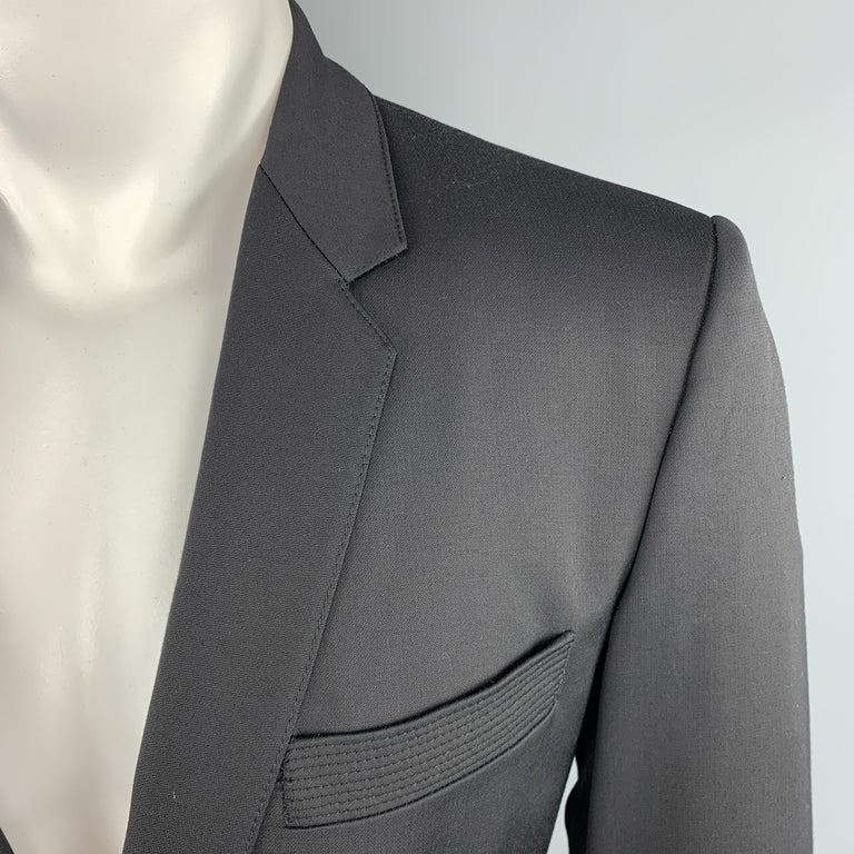 Men's JUST CAVALLI Size 40 Black Double Breasted Notch Lapel Sport Coat For Sale
