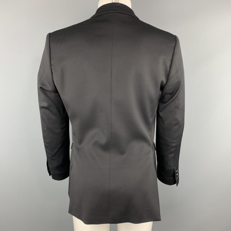 JUST CAVALLI Size 40 Black Double Breasted Notch Lapel Sport Coat For Sale 1