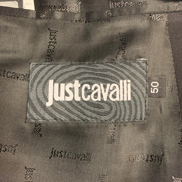 JUST CAVALLI Size 40 Black Double Breasted Notch Lapel Sport Coat For Sale 5